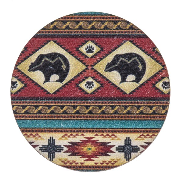 """Accessorize your phone grip with this wooden tribal bear print peel and stick charm. Approximately 1.5"""" in diameter. Fashion charms can also be used for the following:  - Laptops - Refrigerator Magnets - On DIY Home Projects - Car Dashboard - And anywhere you can Imagine"""