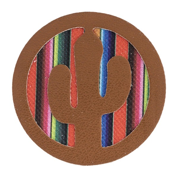 """Accessorize your phone grip with this faux leather serape cactus decorative peel and stick charm. Approximately 1.5"""" in diameter. Fashion charms can also be used for the following:  - Laptops - Refrigerator Magnets - On DIY Home Projects - Car Dashboard - And anywhere you can Imagine"""