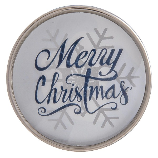 """Self adhesive silver Merry Christmas snowflake dome cell phone grip and stand.  - Approximately 1.5"""" in diameter"""
