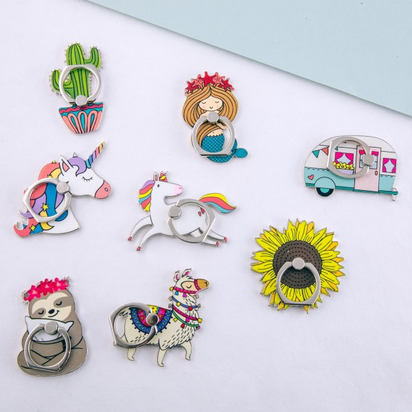 """Enamel coated unicorn self adhesive cell phone peel and stick charm finger grip.   - Safe and secure grip ring with kickstand - Rotates 360 and swivels 180 - Universal smartphone mount - Approximately 2.5"""" in siz"""