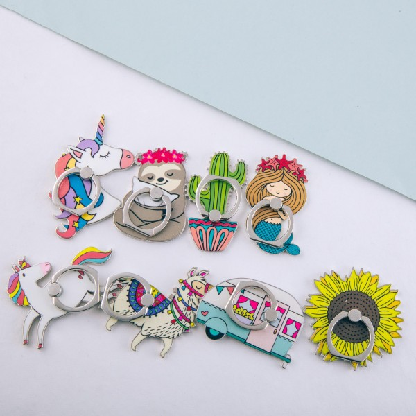 """Enamel coated unicorn self adhesive cell phone peel and stick charm finger grip.   - Safe and secure grip ring with kickstand - Rotates 360 and swivels 180 - Universal smartphone mount - Approximately 2.5"""" W x 2"""" T"""