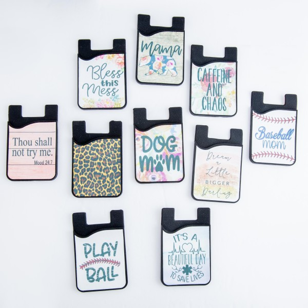 """Leopard Print printed Peel and Stick card holder phone caddy.  - Approximately 2.25"""" W x 3.5"""" T"""