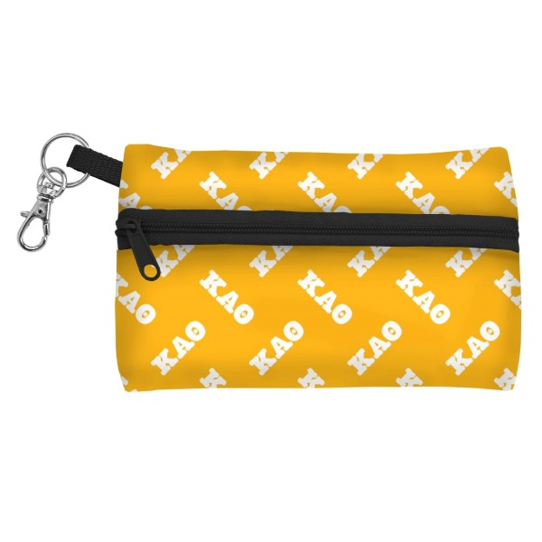 "ID Case-Kappa Alpha Theta. Neoprene case is perfectly sized to hold your cell phone, cash, and cards with a clear PVC window on the back for your ID. Features contrasting colored zipper and clip-hook. Approximately 5 1/4"" x 3 1/2""."