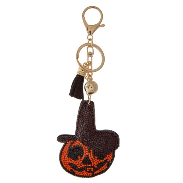 """Keychain with jack-o-lantern design. Approximately 4.5"""" in length."""