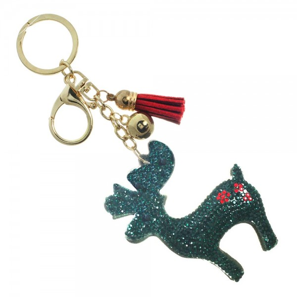 """Keychain with reindeer design. Approximately 4.5"""" in length."""