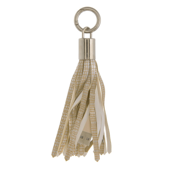 "Portable cell phone charger tassel keychain with a regular USB and USB Micro cable connectors. Approximately 5"" in length."