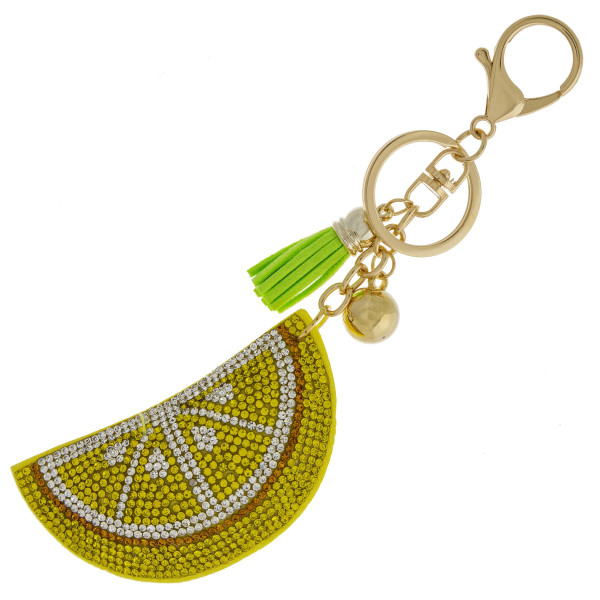 "Lemon keychain with faux suede tassel and rhinestone softball. Approximately 2.5"" in diameter."