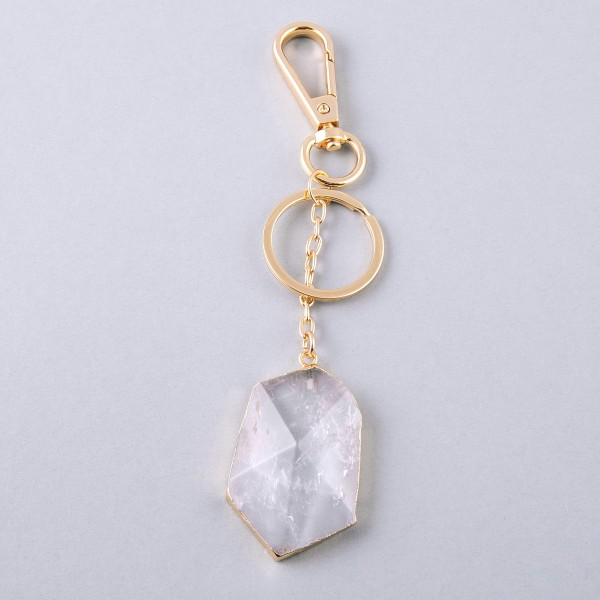 """Clear Quartz keychain holder.  - Approximately 6"""" in length - Approximately 2"""" in size"""