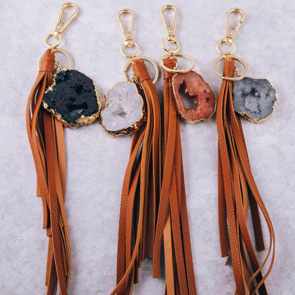 "Large druzy faux leather tassel keychain holder.  - Approximately 12.5"" in length - Druzy varies in size - Approximately 2"" in size"