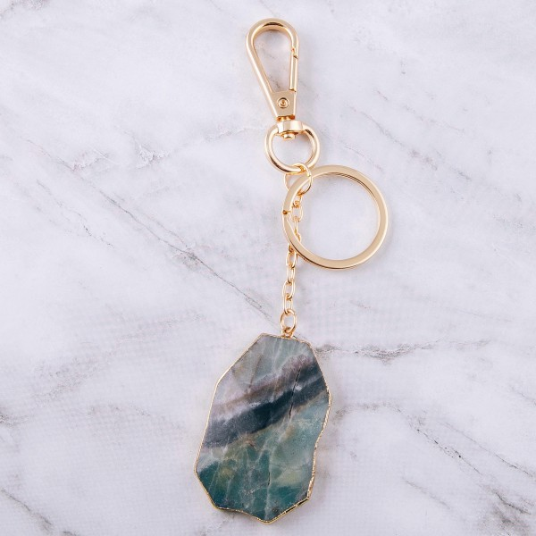 """Natural stone agate keychain holder.  - Approximately 6"""" in length - Approximately 2"""" in size"""