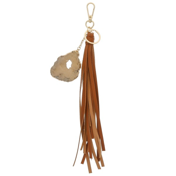 "Large druzy faux leather tassel keychain holder.  - Approximately 13"" in length - Druzy varies in size - Approximately 2.5"" in size"