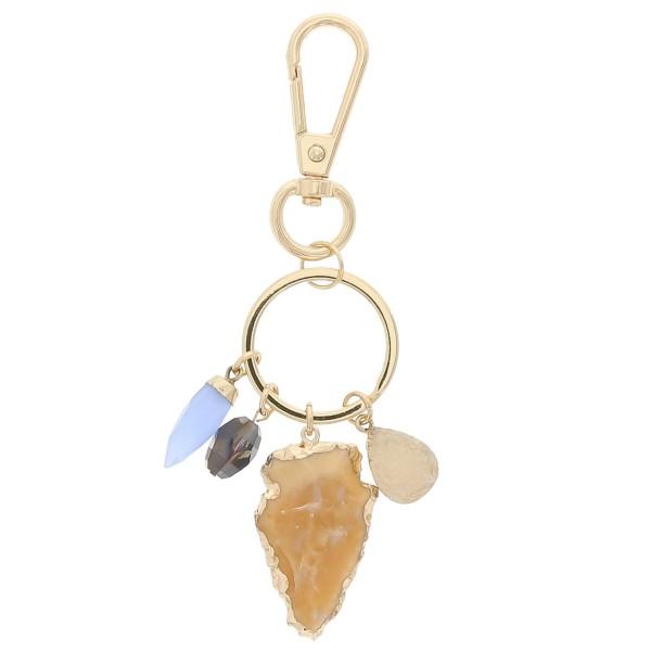 Wholesale natural stone arrow head druzy charm keychain holder