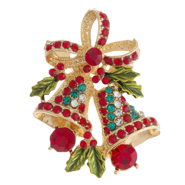 "Rhinestone Christmas bells Holiday brooch pin. Approximately 1.5"" in length."