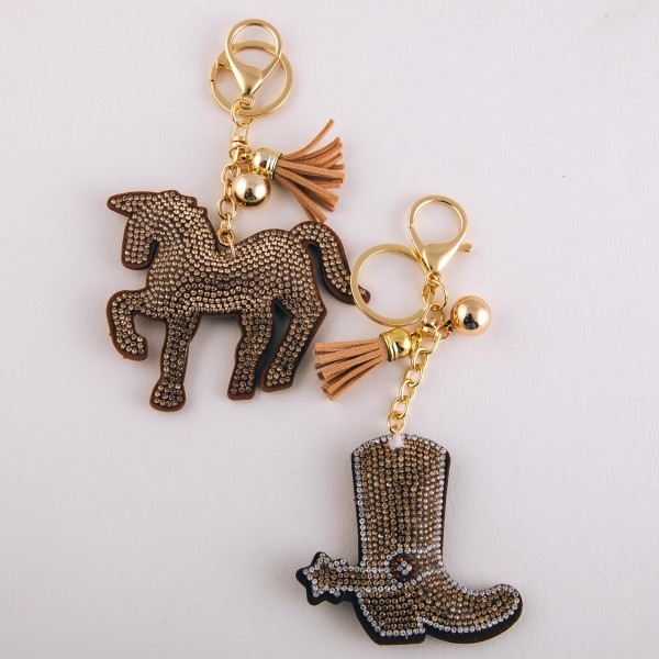 "Beige rhinestone plush cowboy boot keychain holder with tassel detail.  - Approximately 6"" in length overall - Boot 3"""