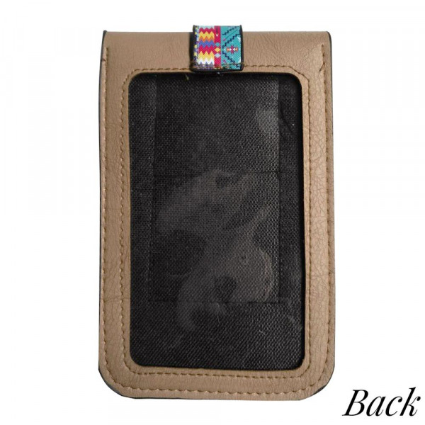 """Aztec print cross body bag with clear phone window. W: 7"""" x L: 4.5"""" with a 35"""" strap."""