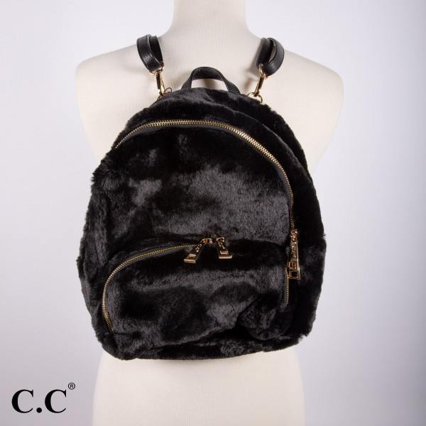 """BG-810: Faux fur C.C two pouch back pack. Approximately 12"""" x 10"""""""