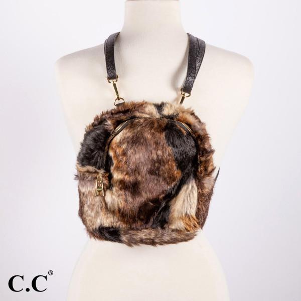 "BG-806: Multi colored faux fur C.C backpack. 12"" x 10"""