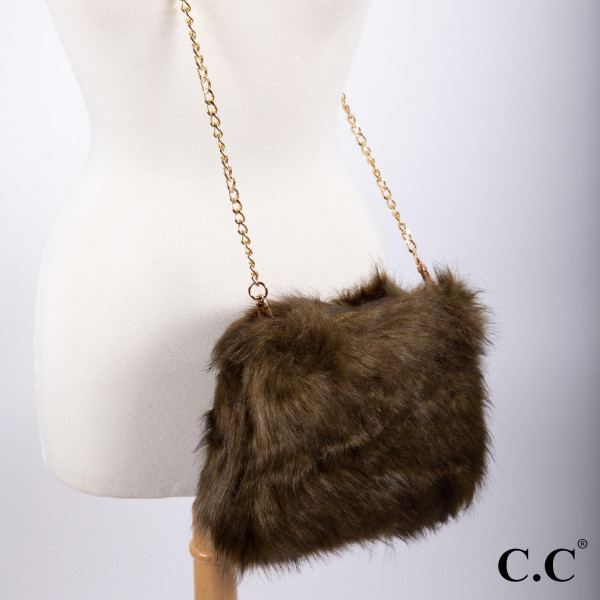 "BG-803: Faux fur C.C cross body purse with gold tone chain. Approximately 11"" x 8"""