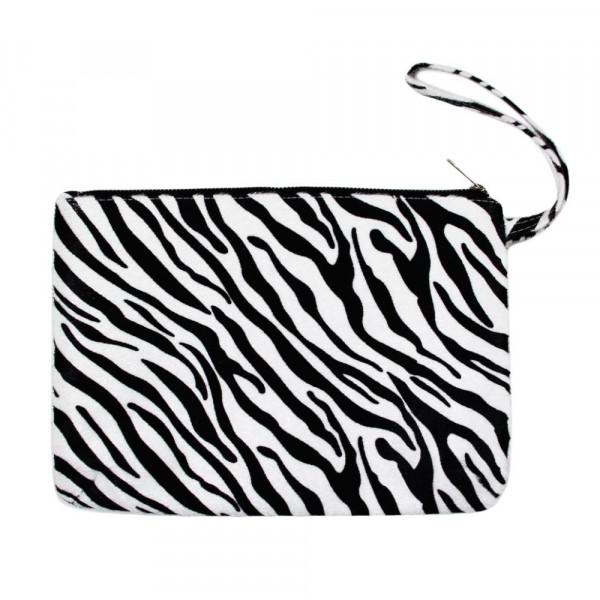 """Oversized zebra print wristlet. Approximately 12"""" x 8"""""""