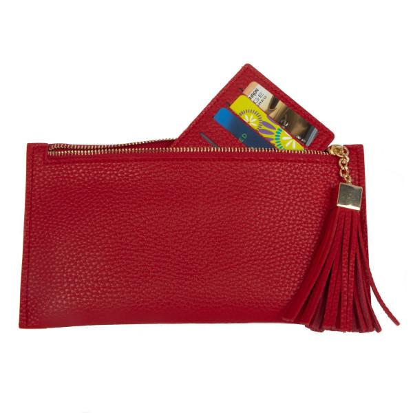 "Zipper wallet with credit card insert. 7"" x 4"""