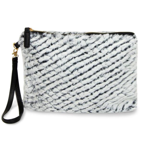 "Faux fur zip pouch with wristlet strap. 100% acrylic. 10"" x 8"""