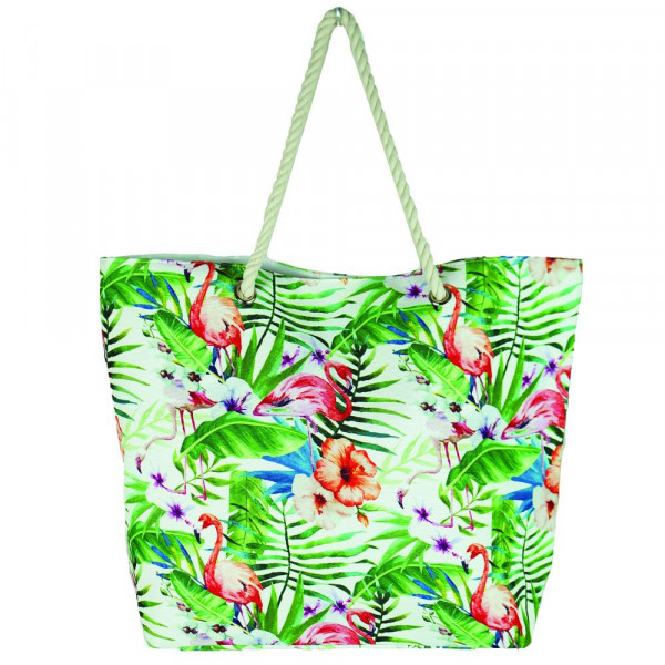 "Tropical flamingo beach bag. 20 1?4"" x 15 1?2"" x 5"""