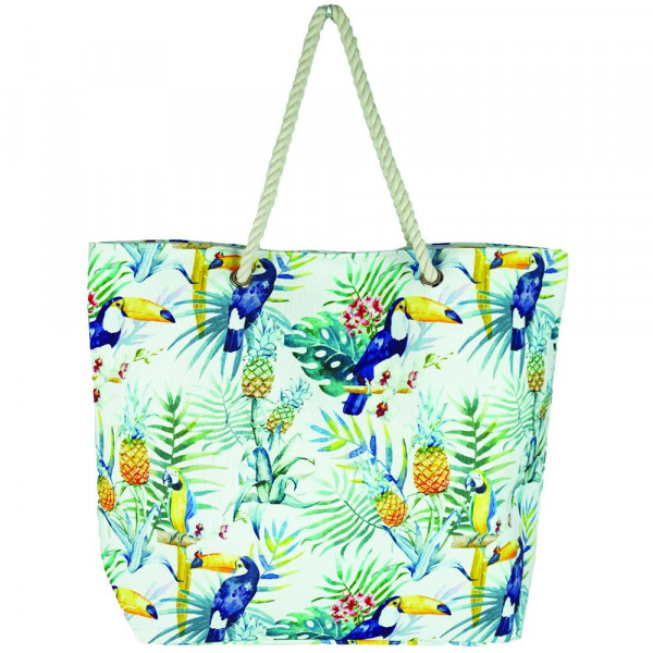 """Tropical toucan beach bag with rope handles.  - Approximately 20 1/4"""" x 15 1/2"""" x 5"""""""
