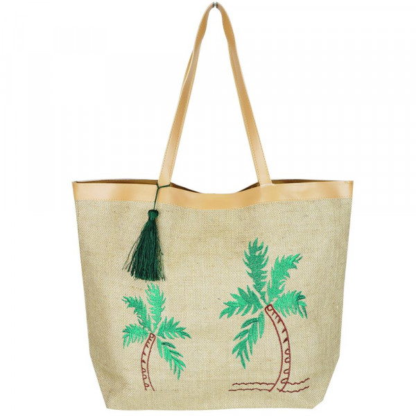 """Embroidered tropical tree beach bag. 20 1/4""""X15 1/2""""X5"""" 95% JUTE, 5% POLYESTER"""