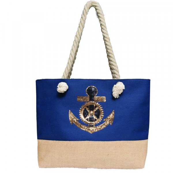 Sequin anchor beach bag.  70% CANVAS, 30% LINEN