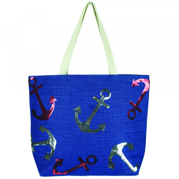 "Nautical sequin beach bag.   - Approximately 20.25"" x 15.5"" x 5""  - 100% Jute"