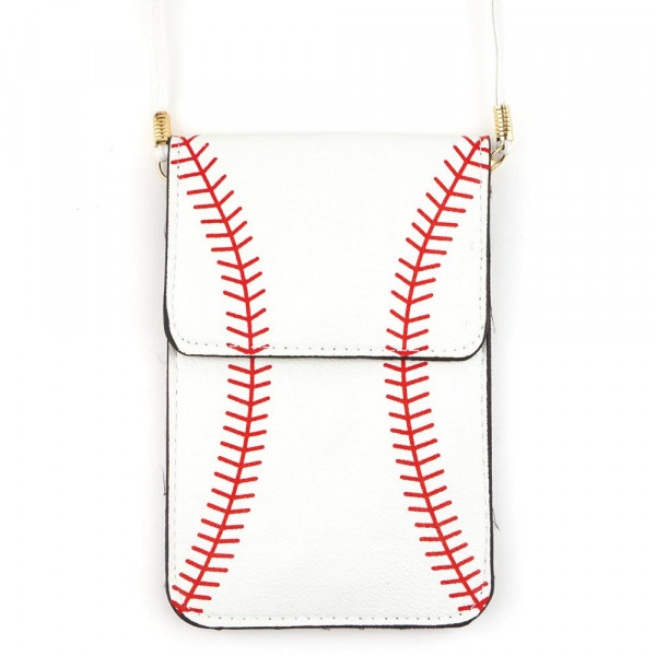 "Faux leather cross body bag with inside pocket and snap closure. Features a clear back pocket and baseball print. Approximately  7"" x 5"" in size."