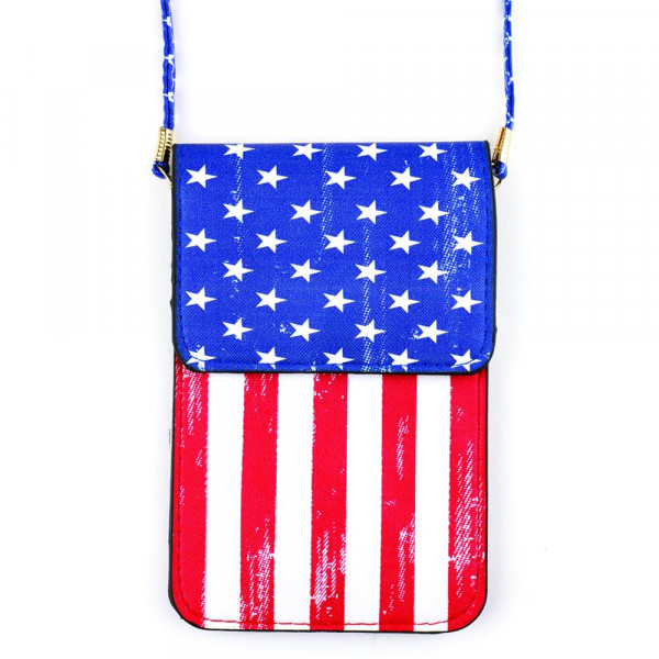 """Faux leather cross body bag with inside pocket and snap closure. Features a clear back pocket and American flag print. Approximately 7"""" x 5"""" in size."""