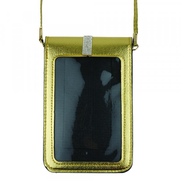 """Faux leather cross body bag with inside pocket and snap closure. Features a clear back pocket and rhinestones. Approximately 4 3/4"""" x 7 1/4"""" in size. 100% PU"""