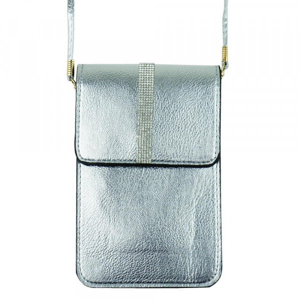 """Faux leather cross body bag with inside pocket and snap closure. Features a clear back pocket. Approximately  7"""" x 5"""" in size."""