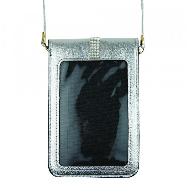 """Clear front faux leather cross body bag with inside pocket and snap closure. Approximately L: 7""""x W: 5"""""""