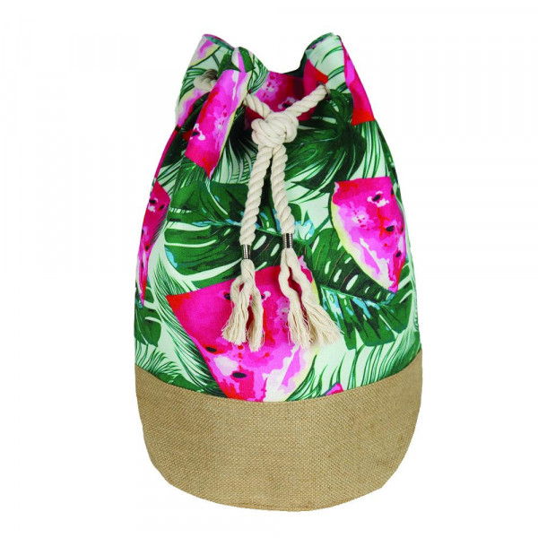 """Tropical watermelon beach bag. Measures approximately 18.25"""" x 18.25"""" x 11"""" in size."""