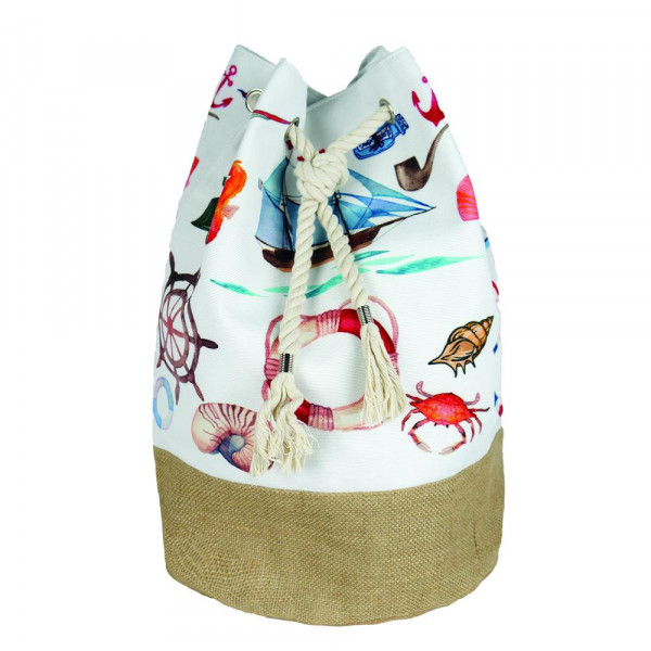 """Nautical tote bag with rope drawstring.  - Approximately 18.25"""" x 18.25"""" x 11"""" in size"""