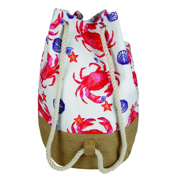 """Beach bag featuring crab print. Measures approximately 18.25"""" x 18.25"""" x 11"""" in size."""