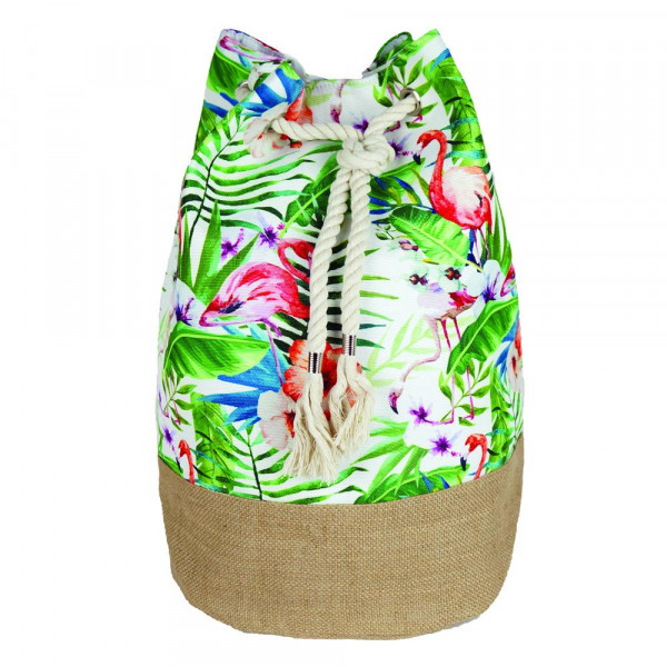 """Tropical flamingo tote bag with rope drawstring.  - Approximately 18.25"""" x 18.25"""" x 11"""" in size"""