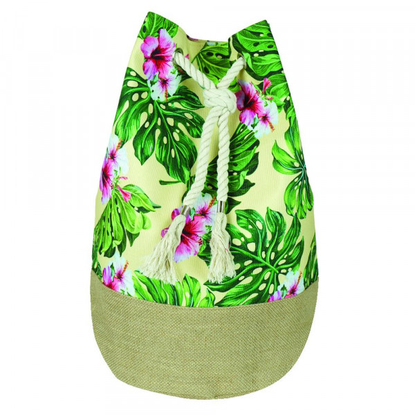 """Beach bag featuring tropical hibiscus print. Measures approximately 18.25"""" x 18.25"""" x 11"""" in size."""