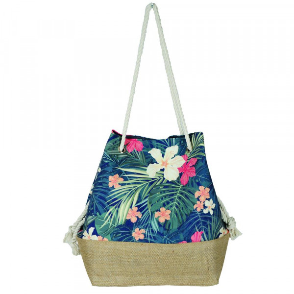 """Tropical floral tote bag with rope handles.  - Approximately 20.5"""" x 15.5"""" x 7"""""""