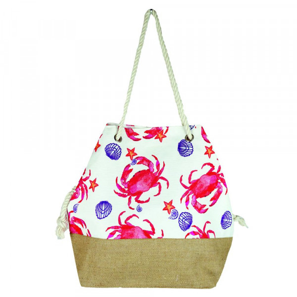 """Crab tote bag with rope handles.  - Approximately 20.5"""" x 15.5"""" x 7"""""""