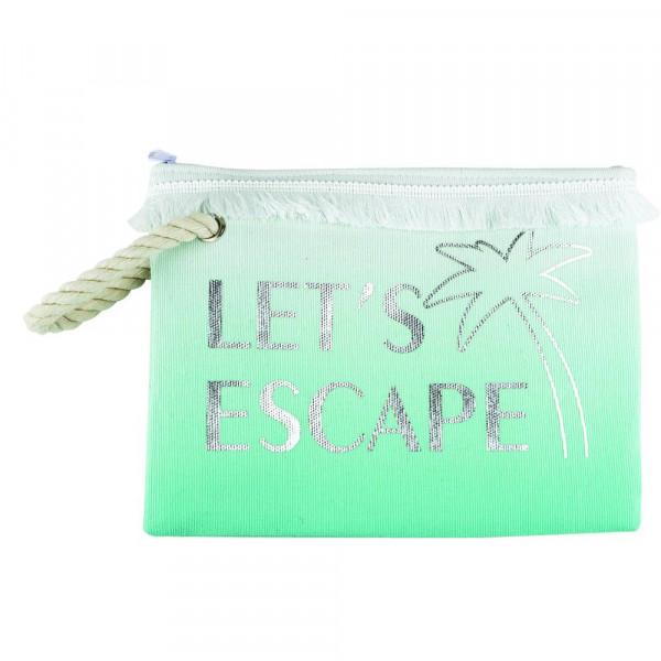 """Let's escape beach pouch. 10""""X7"""" 60% COTTON, 40% POLYESTER"""