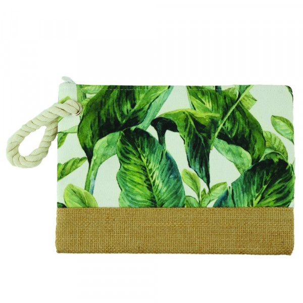 "Tropical leaves beach pouch. 10"" x 7"""