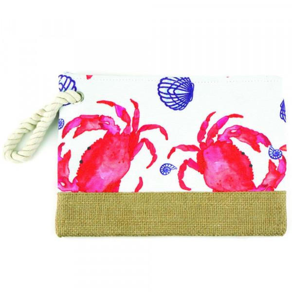 """Crab beach pouch. 10"""" x 7"""""""