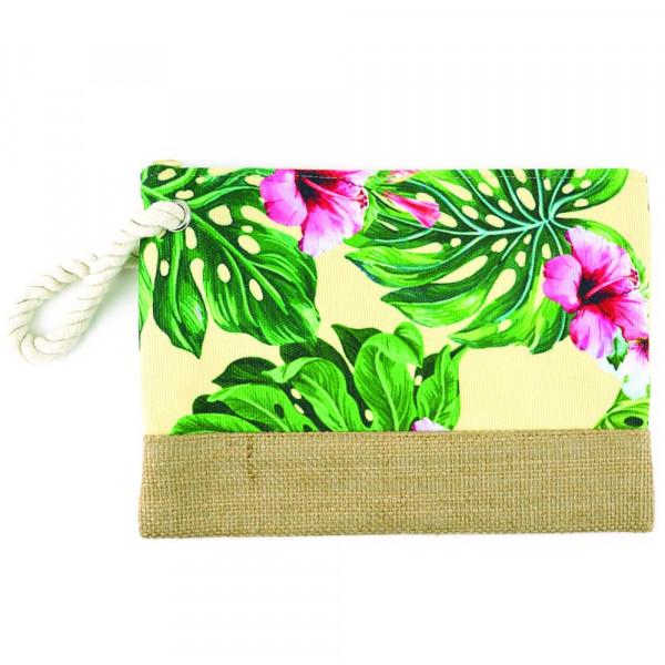 """Hibiscus beach pouch. 10"""" x 7"""""""