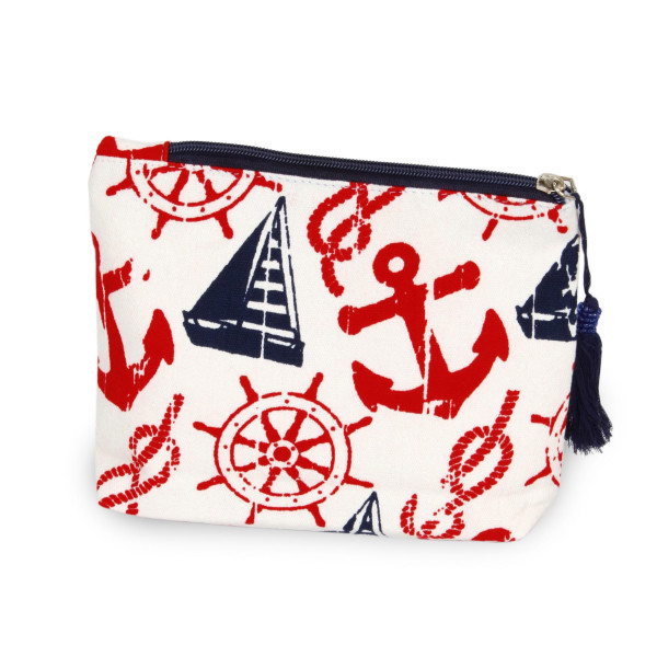 Nautical pouch/ cosmetic bag. 8w X 6L.