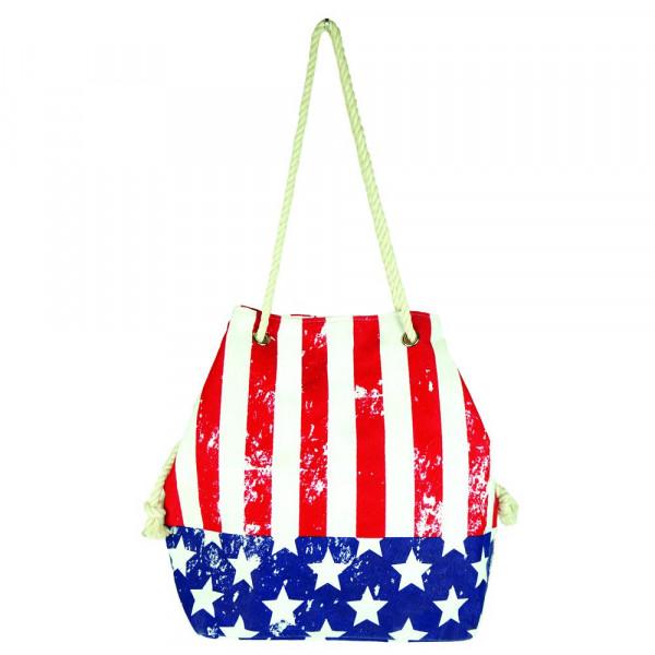 """American flag beach bag. 20 1?2"""" x 15 1?2"""" x 7"""""""
