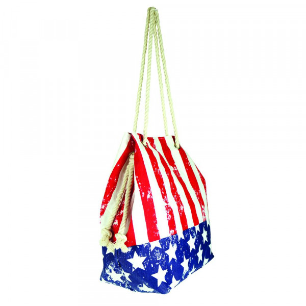 """Distressed American Flag tote bag with rope handles.  - Approximately 20.5"""" x 15.5"""" x 7"""""""