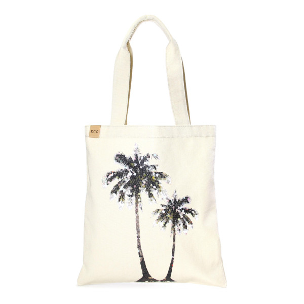 """Eco friendly bag with """"Palm Tree"""" message. 100% Cotton. 13"""" x 15"""" in length."""